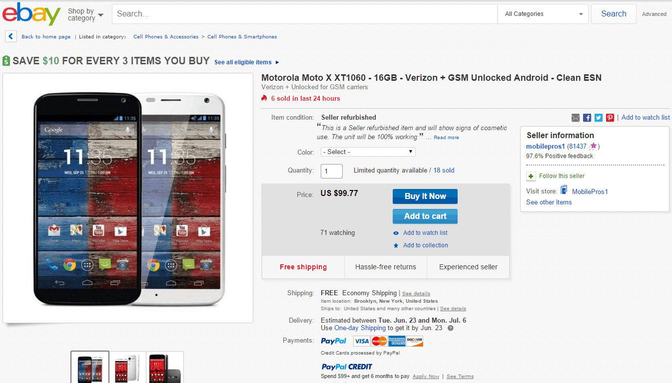 Motorola Moto X eBay Deal