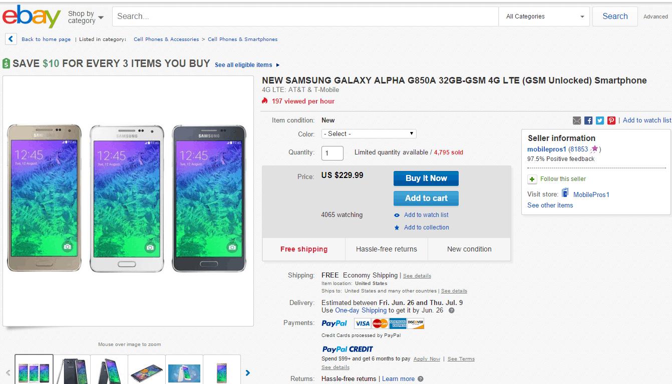Samsung Galaxy Alpha eBay deal