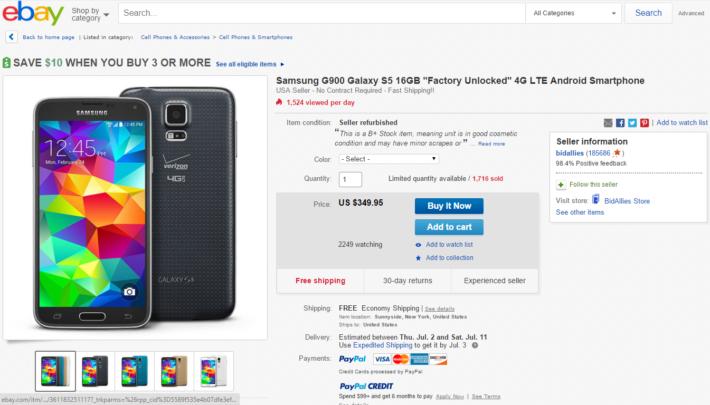 Deal: 16GB Unlocked Samsung Galaxy S5 For $349.95
