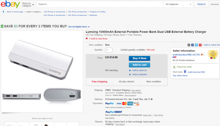 Deal: Lumsing 10400mAh Battery Pack For $14.99