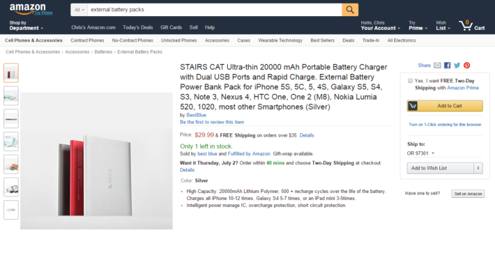 Deal: STAIRS CAT 20000mAh Battery Pack For $29.99