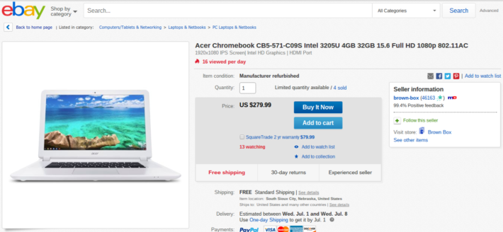 Deal: Acer Chromebook 15 Available On eBay For Only $279.99