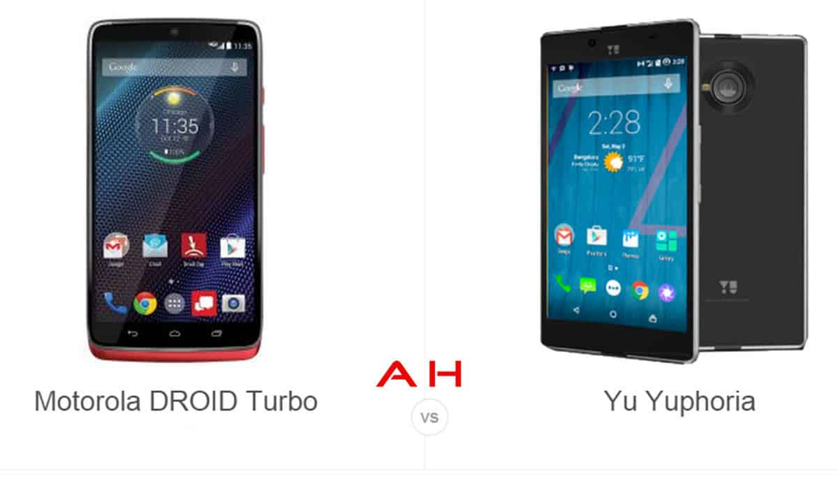 Droid Turbo vs Yu Yuphoria cam AH