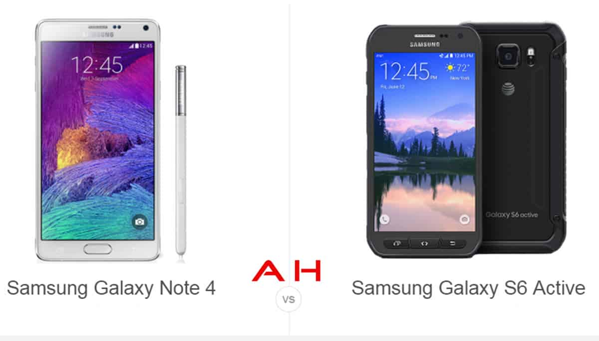 Galaxy Note 4 vs Galaxy S6 Active cam 2 AH