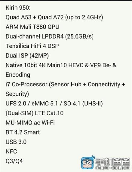 Huawei HiSilicon Kirin 950 leaked specs_1