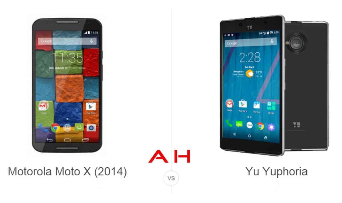 Moto X  vs Yu Yuphoria cam AH