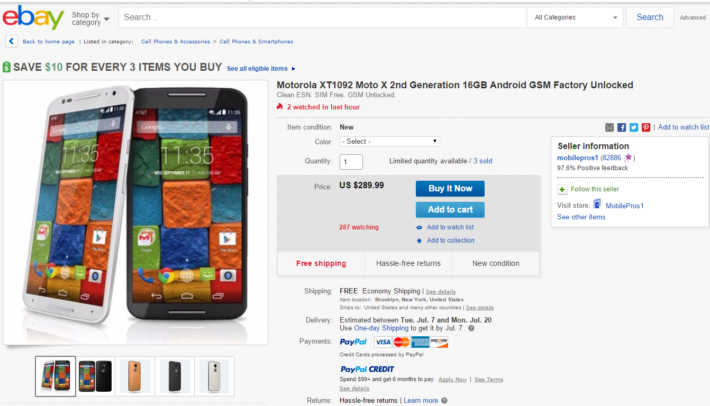 Deal: 16GB Unlocked Moto X 2nd Gen. For $289.99
