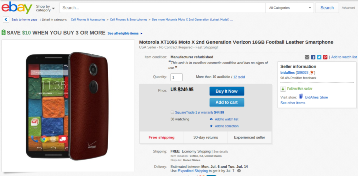 Deal: Football Leather Moto X (2nd Gen) Only $249.95 On eBay