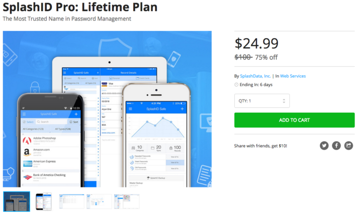 Grab a Lifetime Plan of SplashID Pro for just $24.99