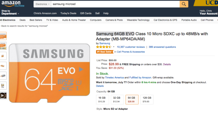 Deal: Samsung 64GB EVO Micro SD Card – $28.99