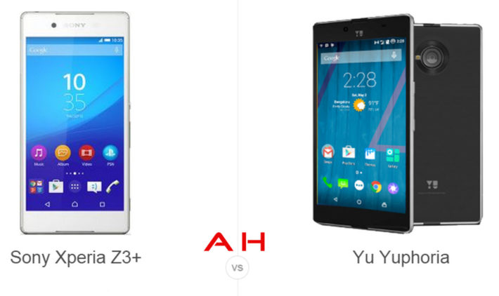 Phone Comparisons: Sony Xperia Z3+ vs Yu Yuphoria