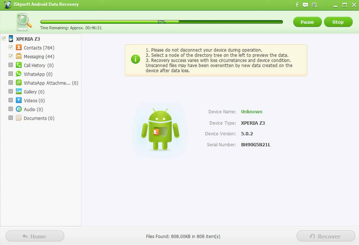iSkysoft Android Data Recovery-3