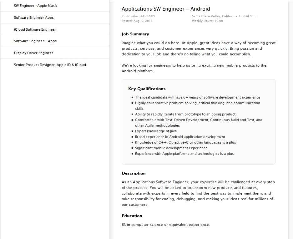 Apple Job Listing KK