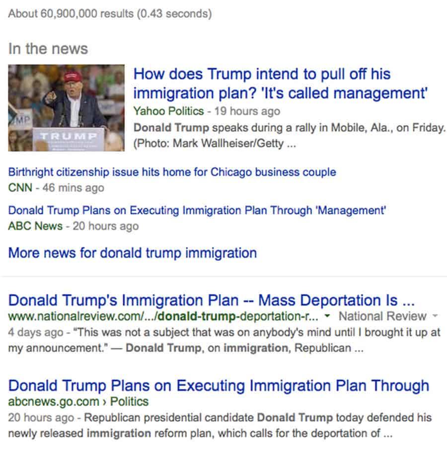 Google Search on Trump