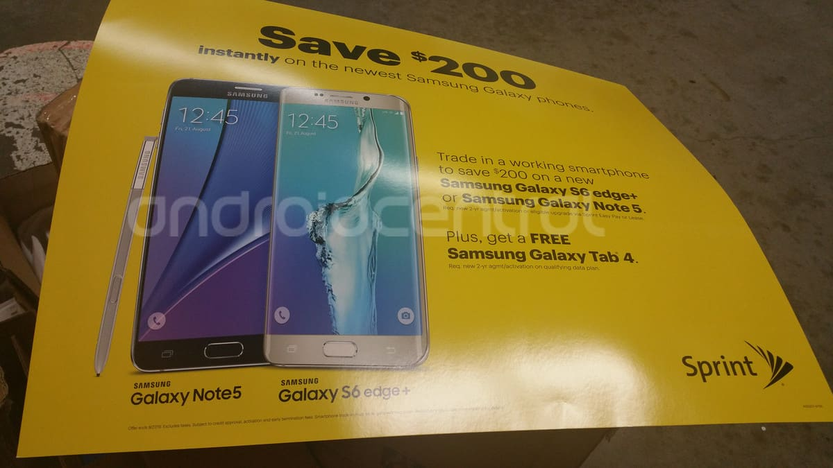Sprint galaxy s6 note 5 promo