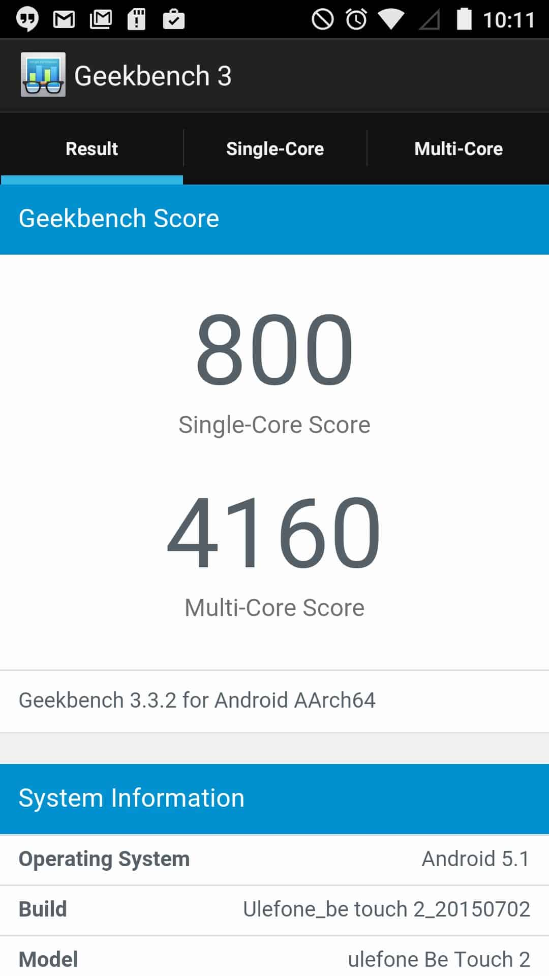 Ulefone Be Touch 2 Benchmarks 2