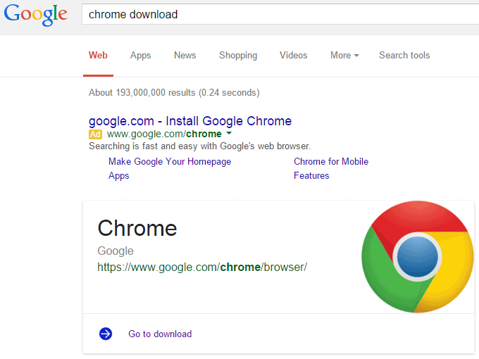 chrome download google card