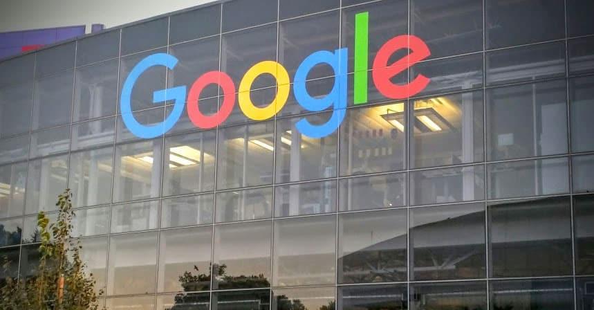 Google's new logo in Googleplex