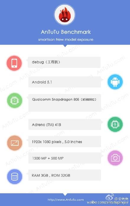 Alleged Smartisan T2 AnTuTu listing_1
