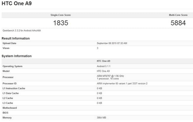 GeekBench3 score for the Helio X20 tested on the HTC One A9
