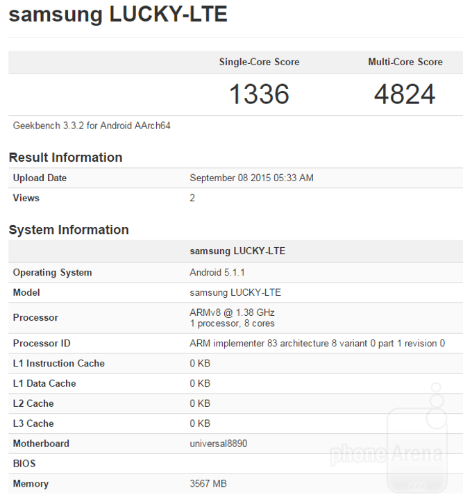 GeekBench3 score for the unannounced Exynos 8890