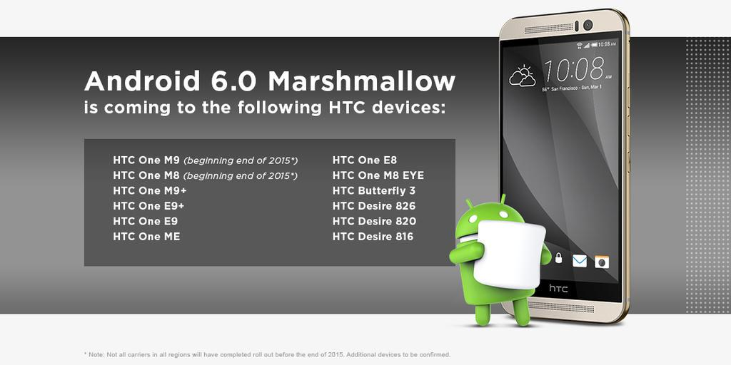 HTC Devices To Get Marshmallow