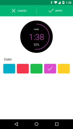 Moto 360 different battery bar color
