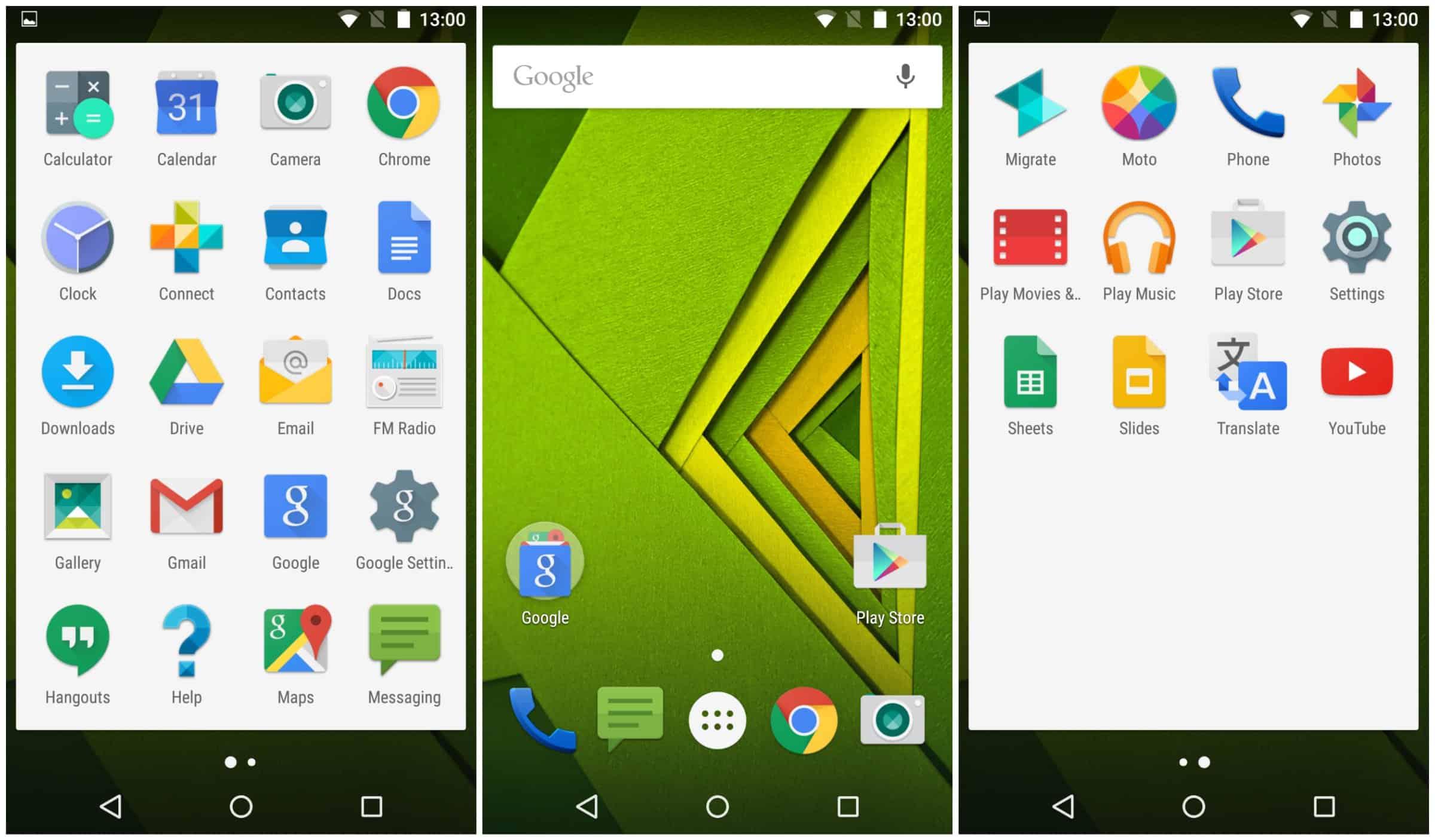 Moto X apps screen