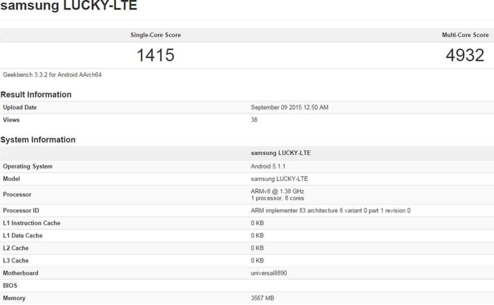 Samsung S7 Exynos 8890 with 4GB