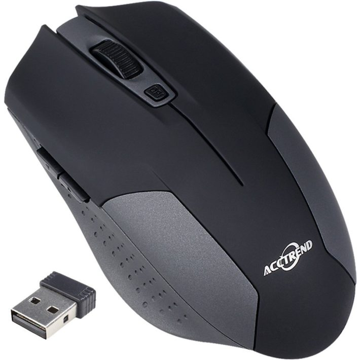 Acctrend Wireless Mouse Nano Cordless Optical Computer Mouse Bg001 2.4 Ghz Grey Black