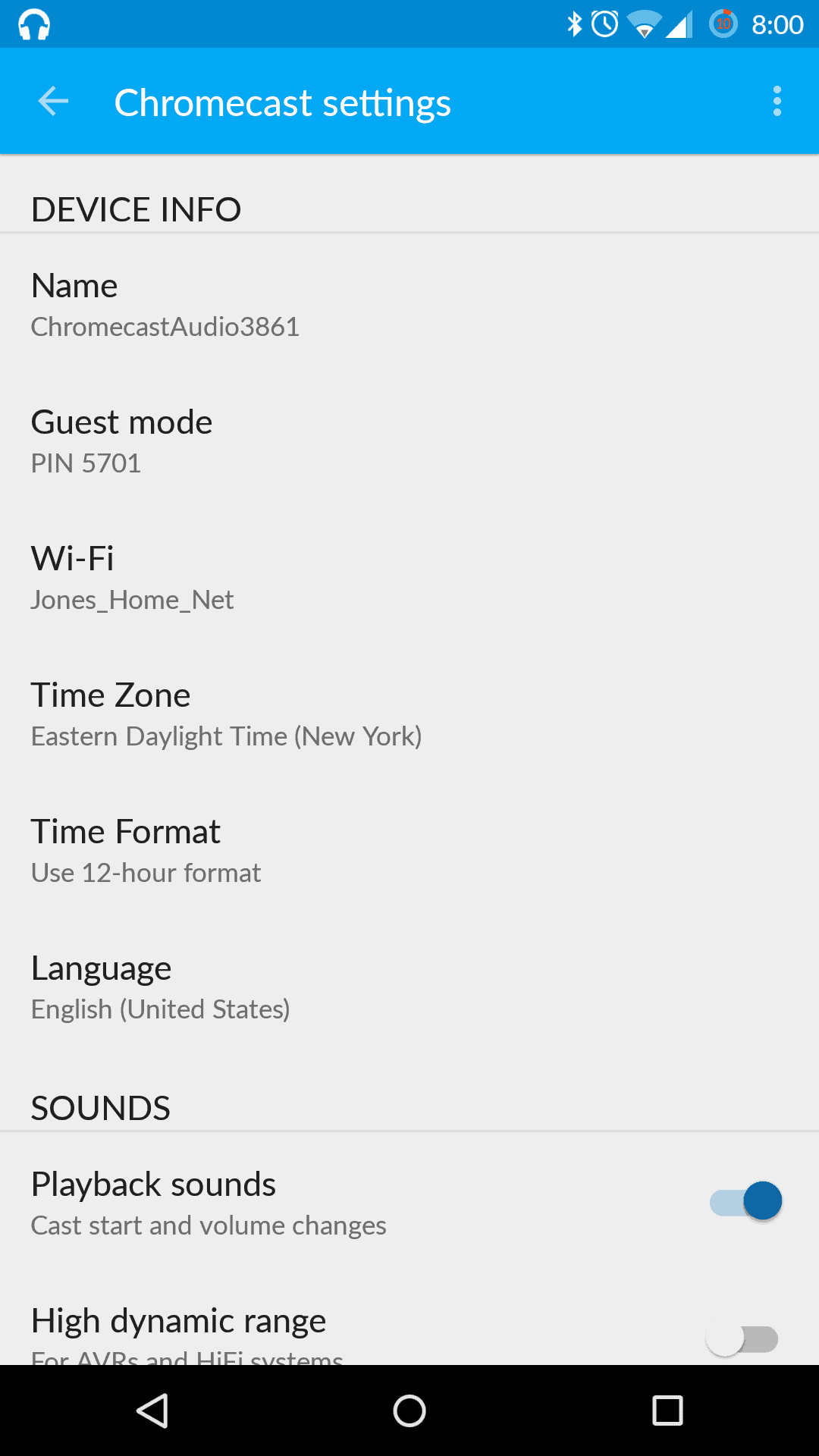 Chromecast Audio app settings 1