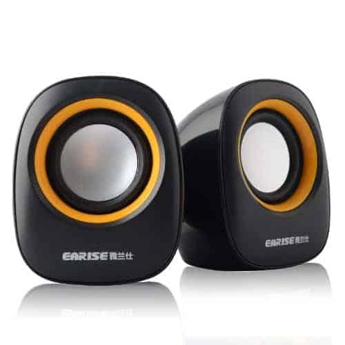 Earise AL-101 3.5mm Mini Computer Speakers, Powered by USB (Black)