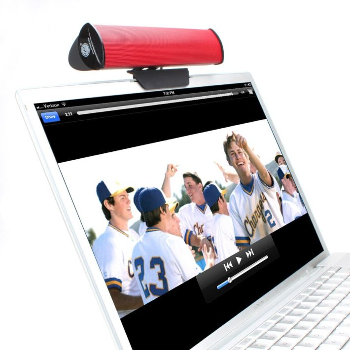 GOgroove USB Powered Laptop Speaker Bar with Clip-On