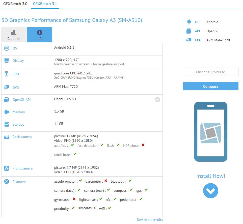 Samsung Galaxy A3 (SM-A310) GFXBench leak_1