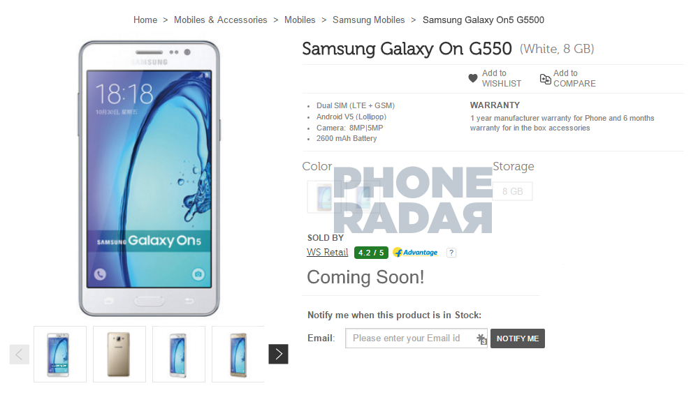 Samsung Galaxy On5 leaked Flipkart listing_1