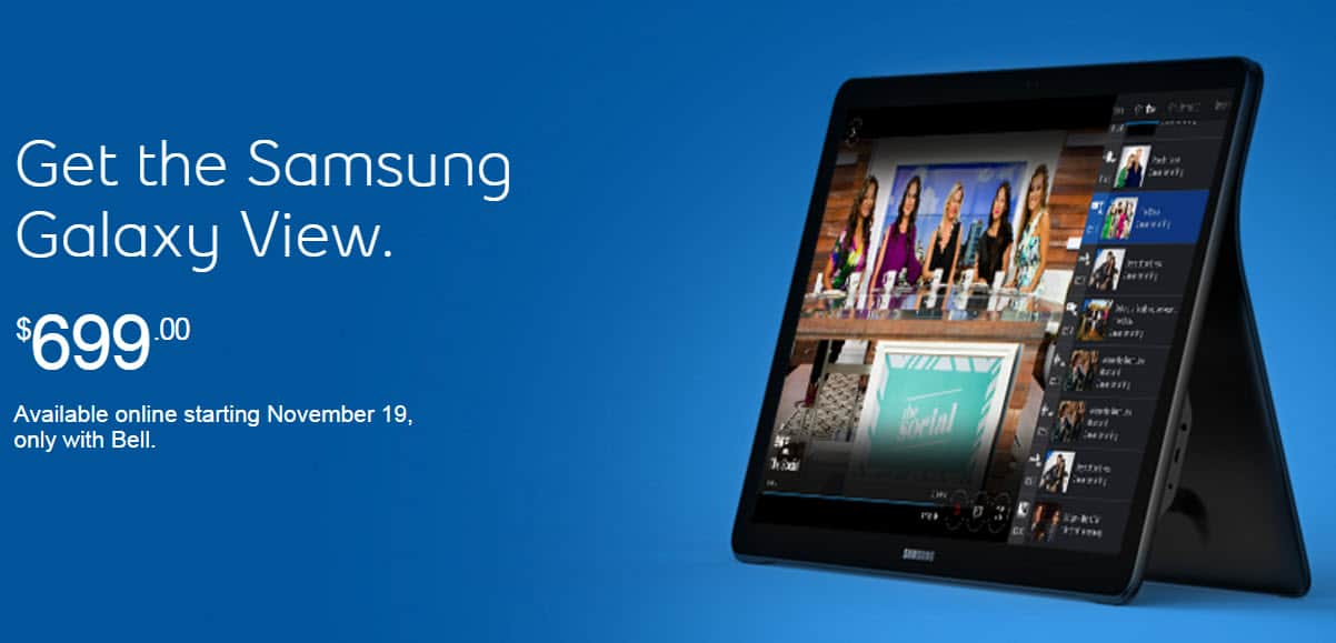 Samsung Galaxy View on Bell