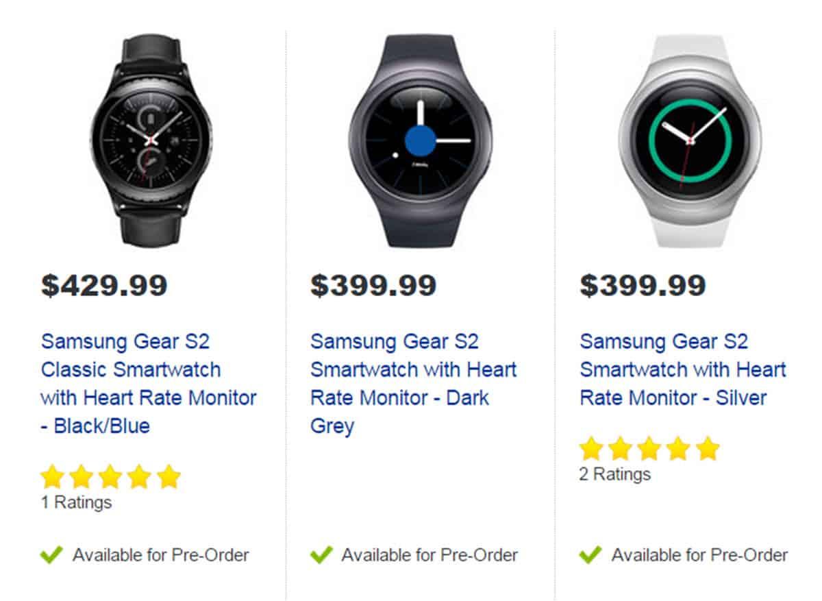 Samsung Gear S2 Pre-order list at Best Buy