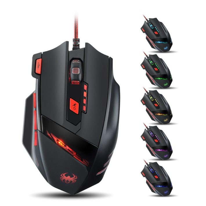 VicTsing® 8000 DPI High Precision Gaming Mouse for PC, 8 Buttons design Weight Tuning Cartridges(Black)