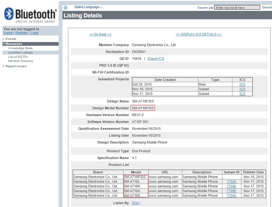Galaxy A7 (2015) Bluetooth SIG listing_1