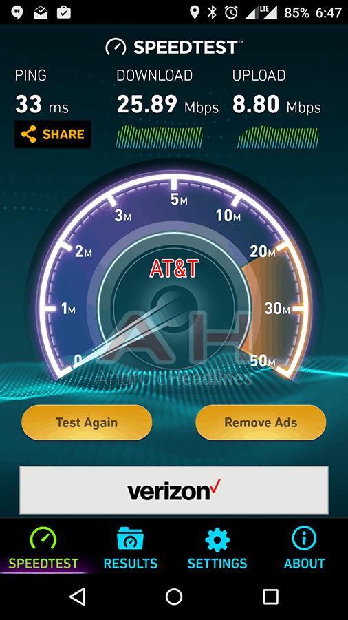 OnePlus X AH Speed Test ATT