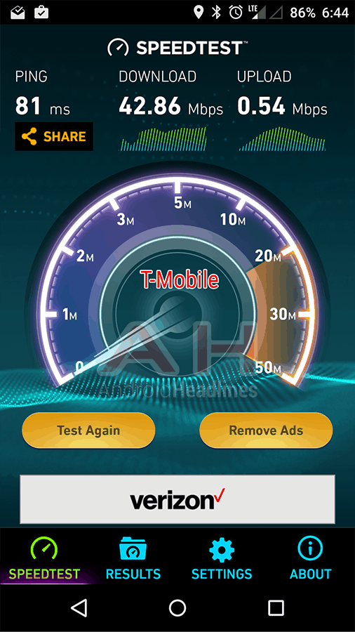 OnePlus X AH Speed Test T Mobile