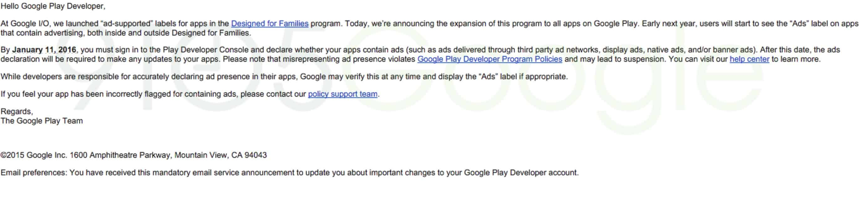 Play Store ads email
