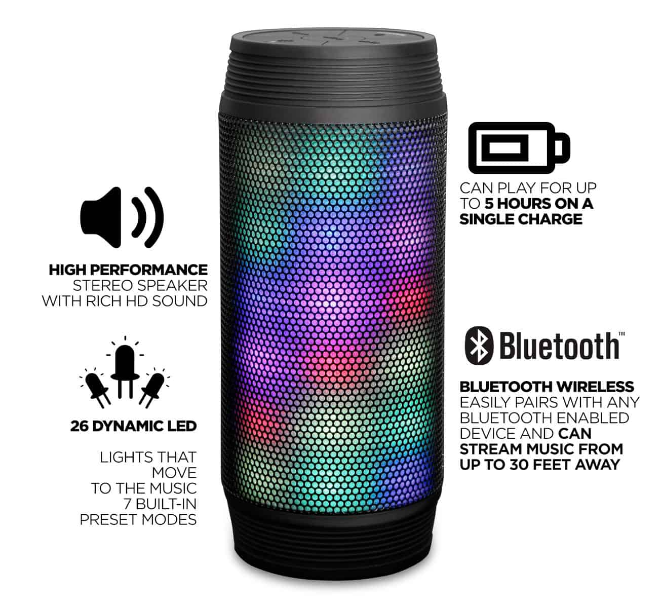 RevJams Discotek LED Bluetooth Speaker-3