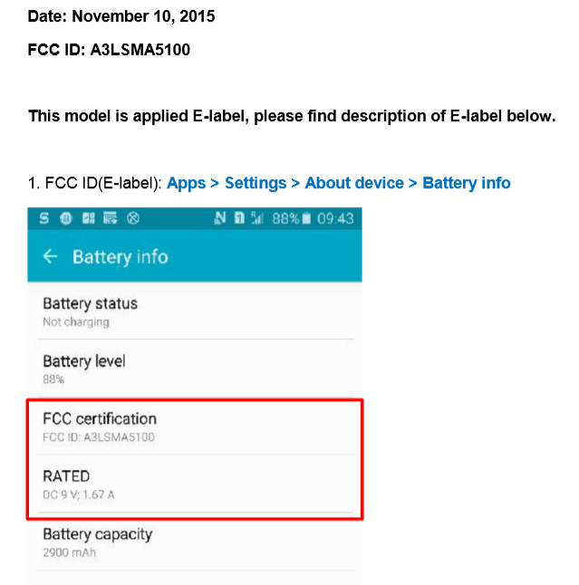 Second Generation Galaxy A5 FCC KK