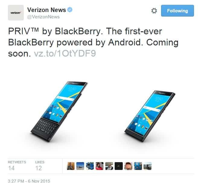 Verizon priv tweet