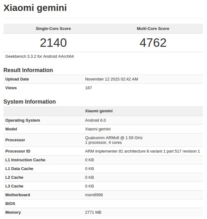 Xiaomi Mi 5 Geekbench listing pre-launch_1