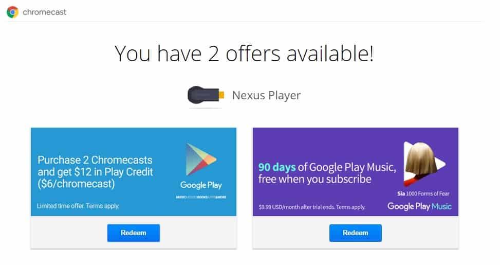 chromcast offer