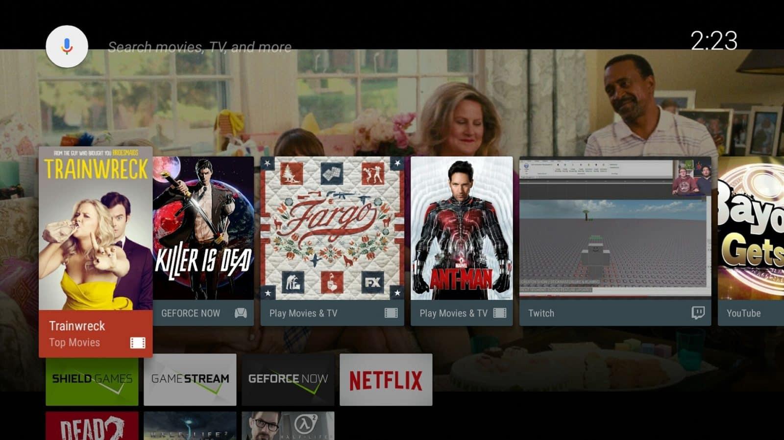 Android TV Google App rebrand main screen