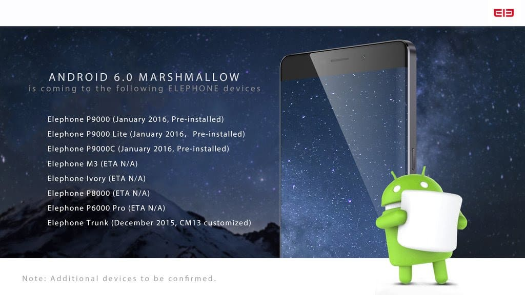 Elephone Android 6.0 Marshmallow release schedule_1