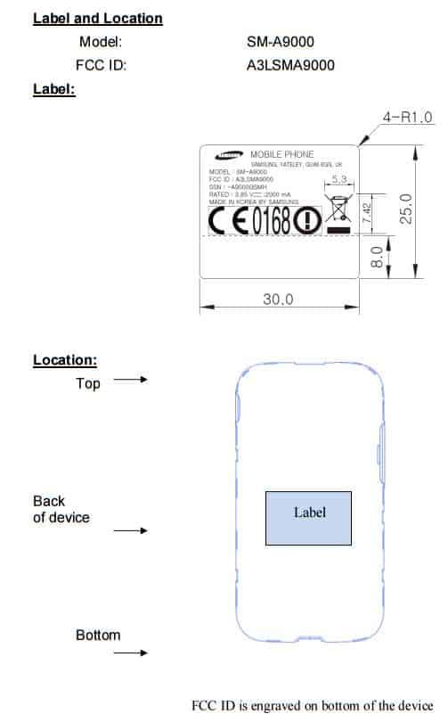 Galaxy A9 labels